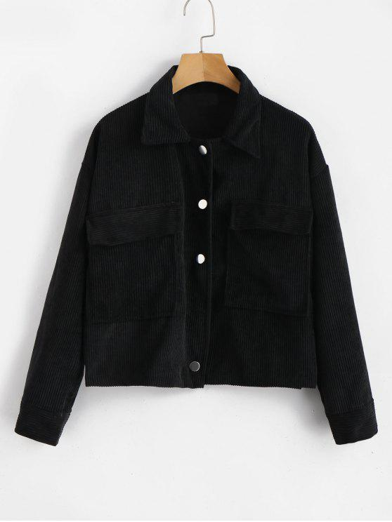 outfit Single Breasted Corduroy Jacket - BLACK ONE SIZE