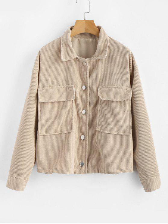 ladies Single Breasted Corduroy Jacket - LIGHT KHAKI ONE SIZE