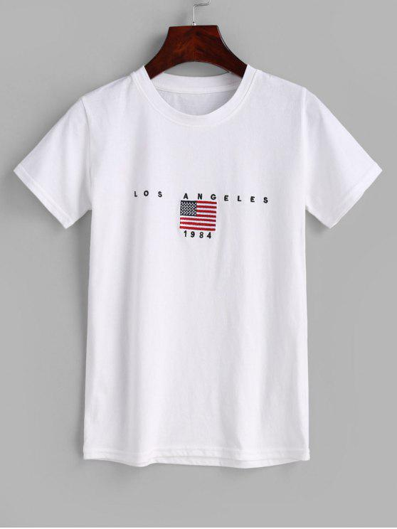 shops Flag Embroidered T-shirt - WHITE ONE SIZE