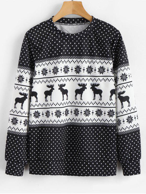 lady Dots Elk Snowflake Christmas Sweatshirt - MULTI L
