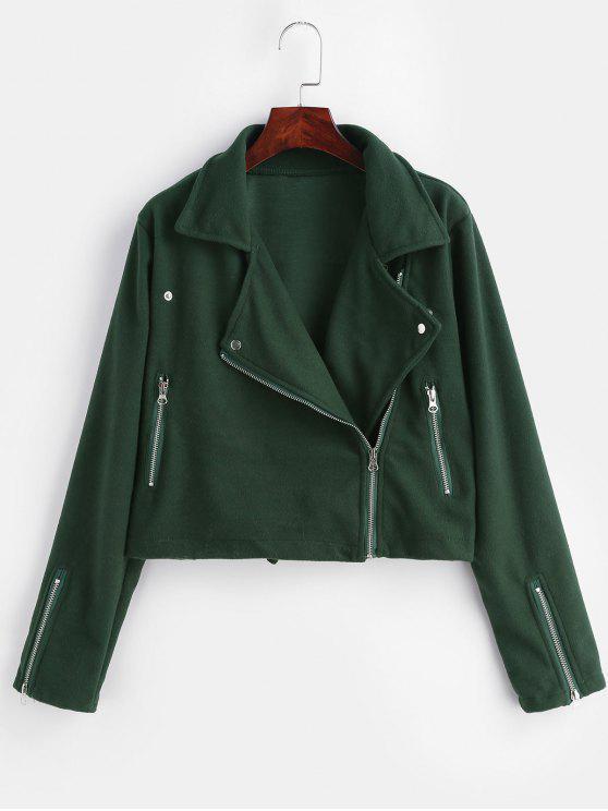 Zipper Fleece Boxy Jacket - Dunkelgrün M