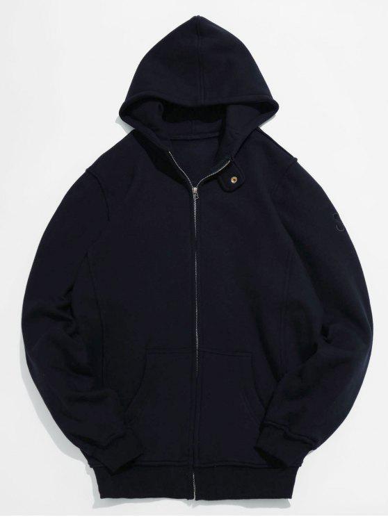 Chaqueta de bolsillo con cierre de cremallera y cierre sólido - Negro 2XL