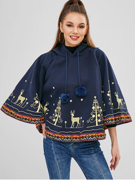 outfit Elk Snowflake Cape Christmas Hoodie - MIDNIGHT BLUE ONE SIZE