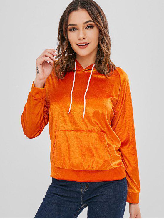 Sweat à capuche en velours avec poche avant et manches raglan - Orange Foncé L