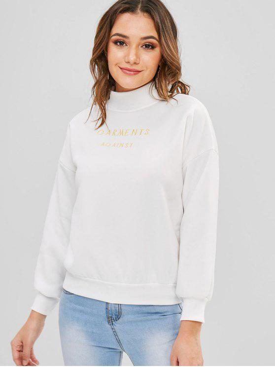Sweat-shirt Brodé Goutte Epaule à Col Montant - Blanc XL