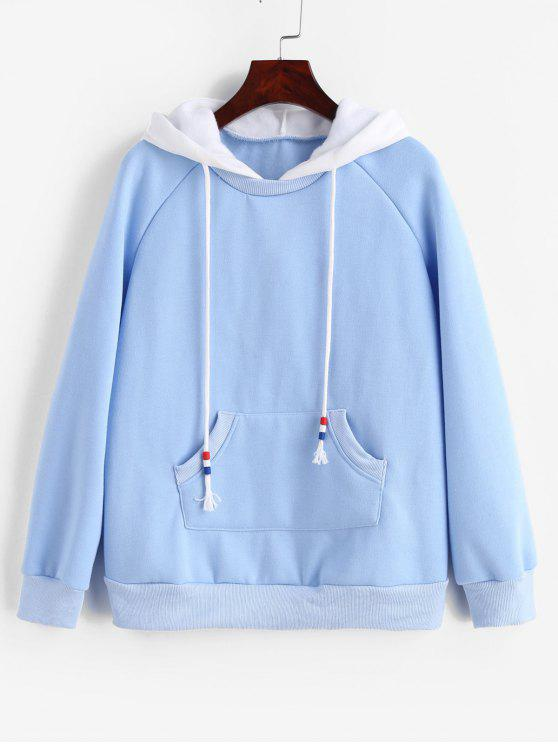 women's Zaful Fleece Raglan Sleeve Hoodie with Pocket - SILK BLUE L