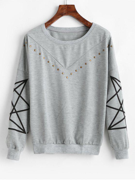 Tropfen Schulter Rivet Print Sweatshirt - Grau 2XL