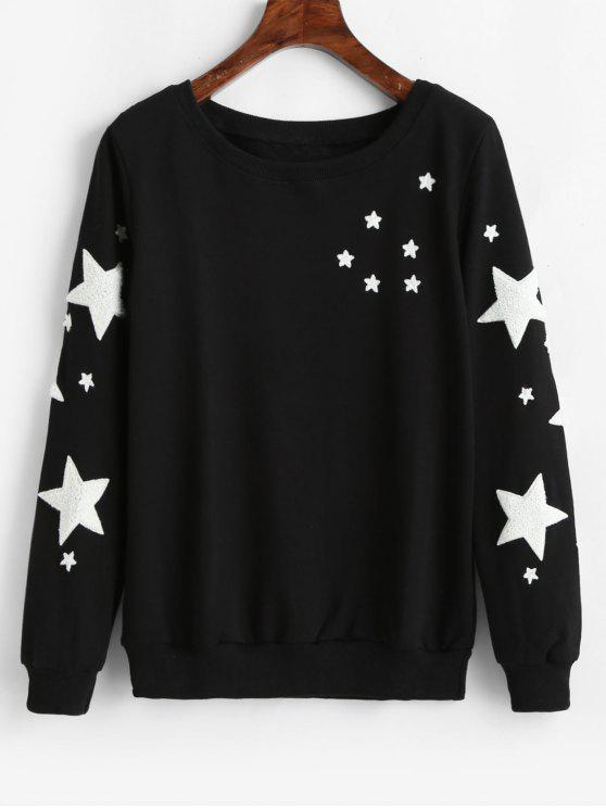 Star Graphic Pullover Lässiges Sweatshirt - Schwarz 2XL