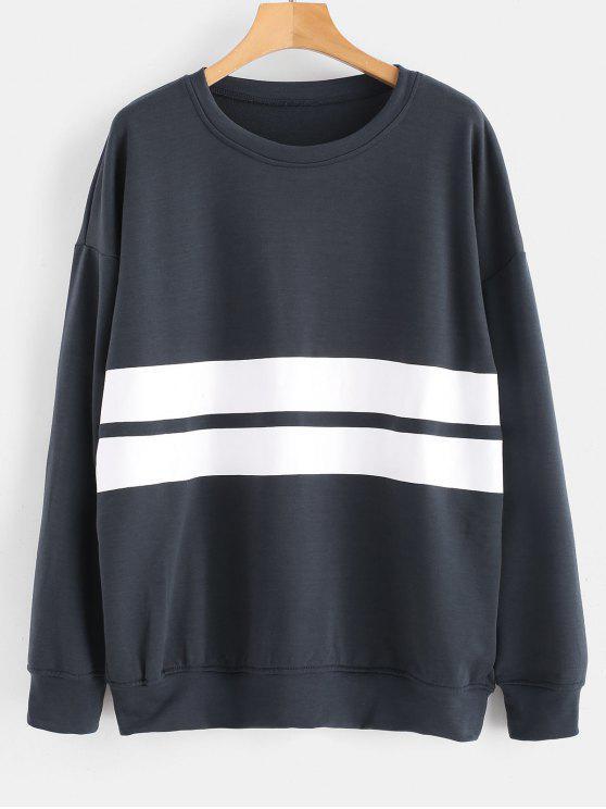 Tropfen Schultern Streifen Sweatshirt - Dunkles Schiefergrau M
