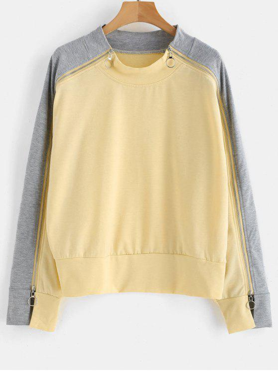Sweat-shirt Bicolore à Manches Zippées - Soie de Maïs L
