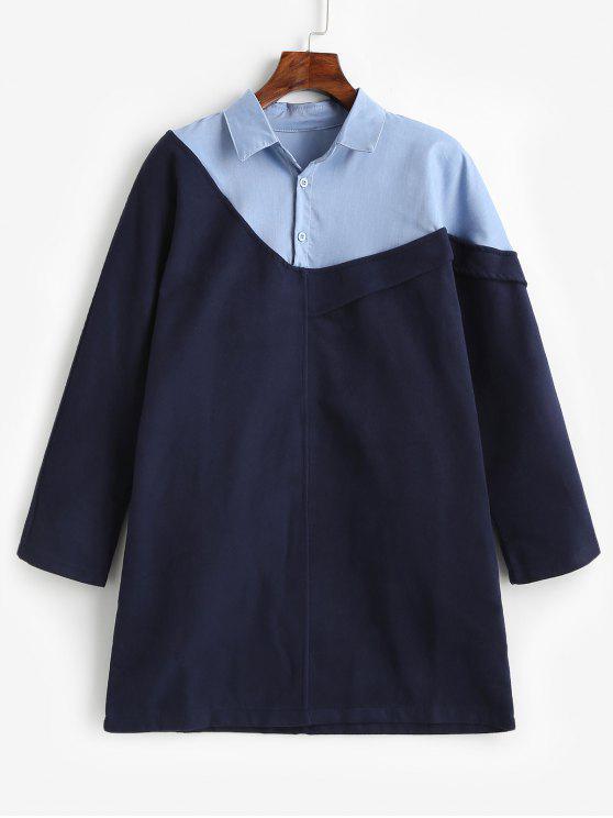Camisola de contraste meio abotoada - Azul da Meia Noite M