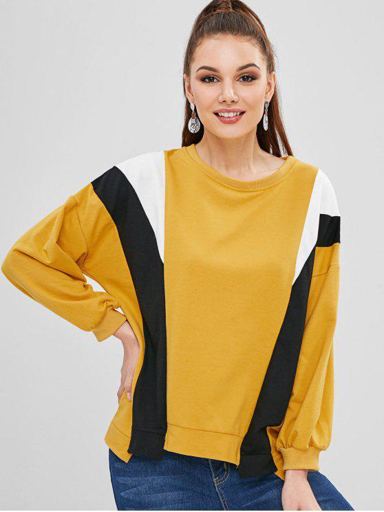 Sweat-shirt Surdimensionné en Blocs de Couleurs - Brun Doré Taille Unique