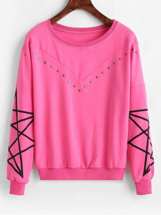 Sweat-shirt Rivet Imprimé à Goutte Epaule - Rose Vif 2XL