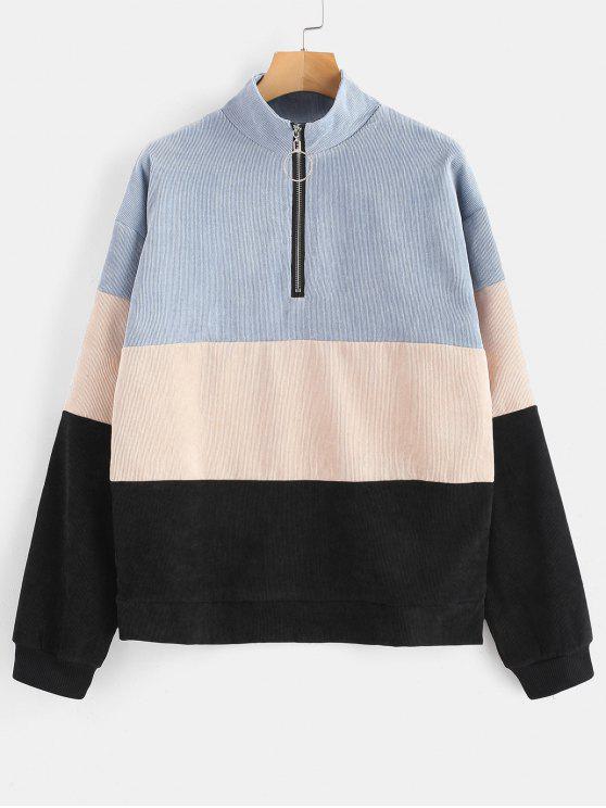 Mit Reißverschluss versehenes Farbblock-Cord-Sweatshirt - Multi L