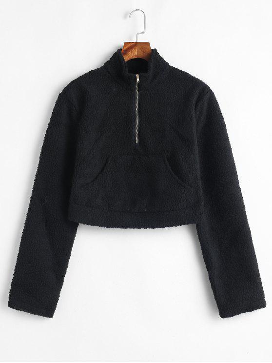 Känguru Pocket Crop Fluffy Sweatshirt - Schwarz S
