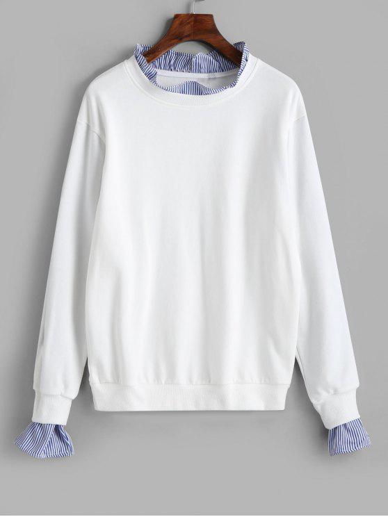 Camisola de mangas compridas com capuz - Branco M