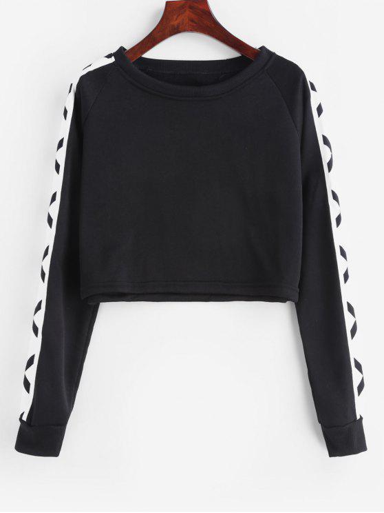 Sweatshirt mit Raglanärmeln und Farbblock - Schwarz S