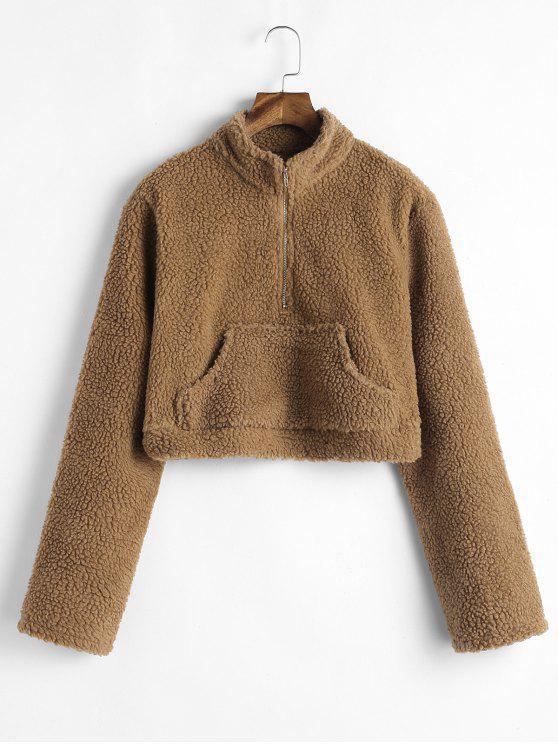 Känguru Pocket Crop Fluffy Sweatshirt - Karamell S