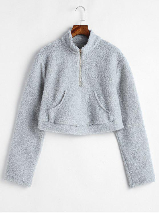 Känguru Pocket Crop Fluffy Sweatshirt - Hellgrau M