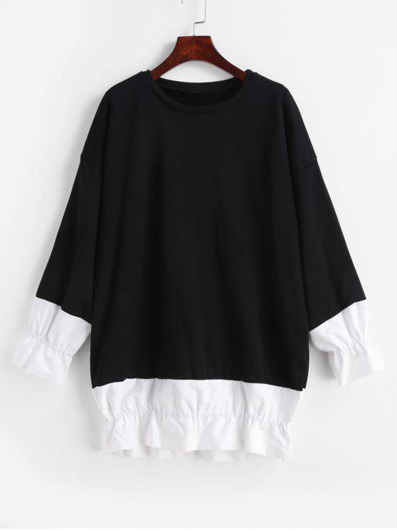 Volant Drop Schulter Tunika Sweatshirt - Schwarz Eine Größe