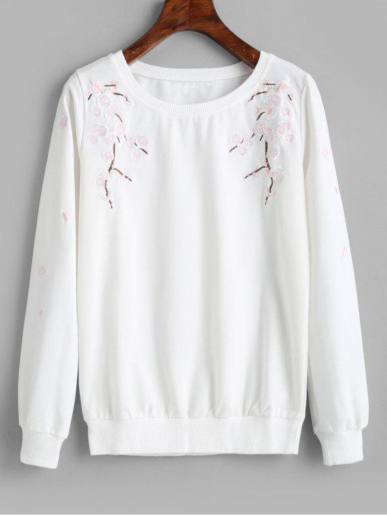 Pullover Blume besticktes Sweatshirt - Weiß M