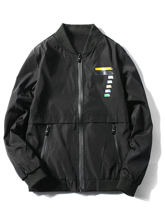 Zip Fly Coloful Number Printed Jacket - Schwarz M