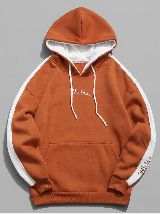 sale Color Clock Letter Printed Pullover Hoodie - PAPAYA ORANGE M