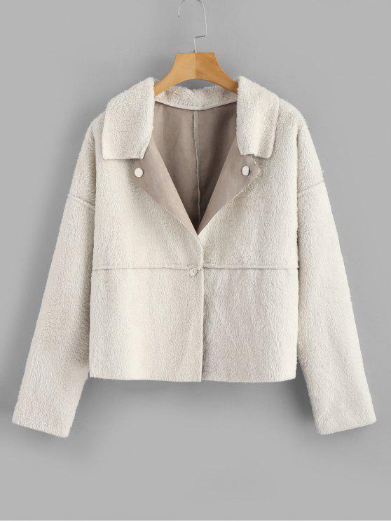 women ZAFUL Snap Button Plain Faux Fur Jacket - BEIGE L