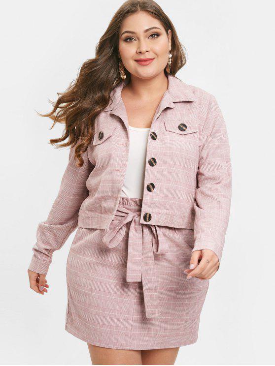 fancy ZAFUL Plus Size Plaid Jacket and Belted Skirt Set - LIPSTICK PINK L