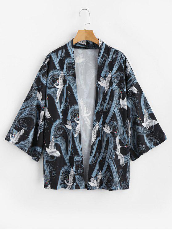 sale Crane Print Kimono Cardigan - BLACK XL