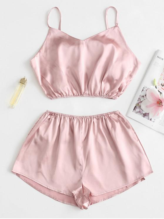 ladies Cami Crop Top with Shorts Set - PINK S