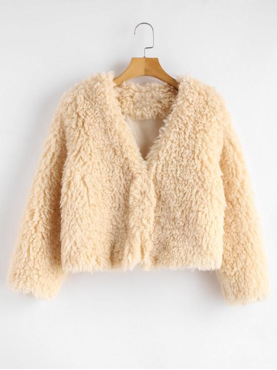 women's ZAFUL Hook Fluffy Faux Shearling Teddy Coat - CHAMPAGNE L