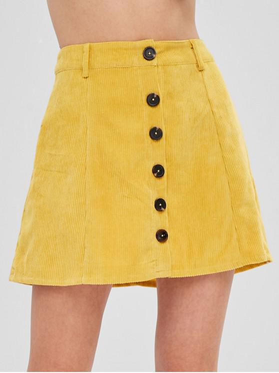 1fea65a114 38% OFF] 2019 ZAFUL Button Up Mini Corduroy Skirt In GOLDEN BROWN ...
