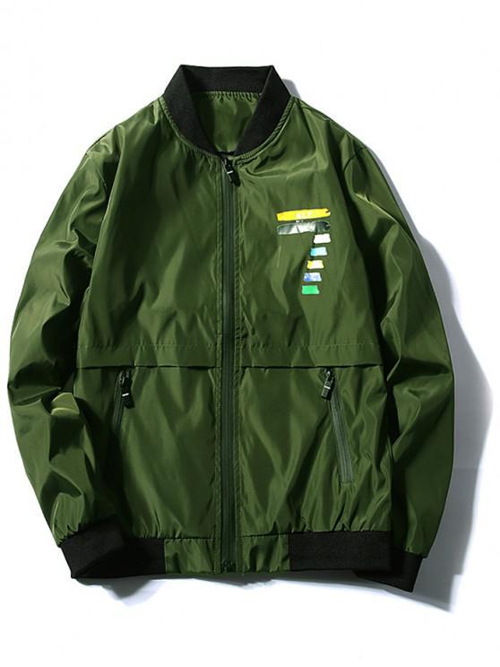 Veste Chiffre Coloré Imprimé Zippée - Vert profond XS