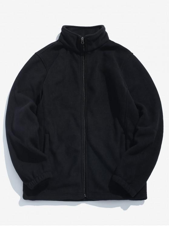 Cappotto Casuale In Tinta Unita Con Cerniera - Nero XS