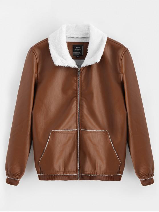 online Fluffy Neck Pocket Casual PU Zip Jacket - DARK GOLDENROD S