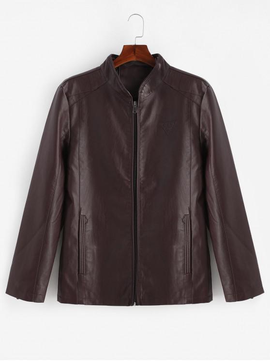Manteau Zippé Triangle Imprimé Zippé avec Poches - Brique Réfractaire M
