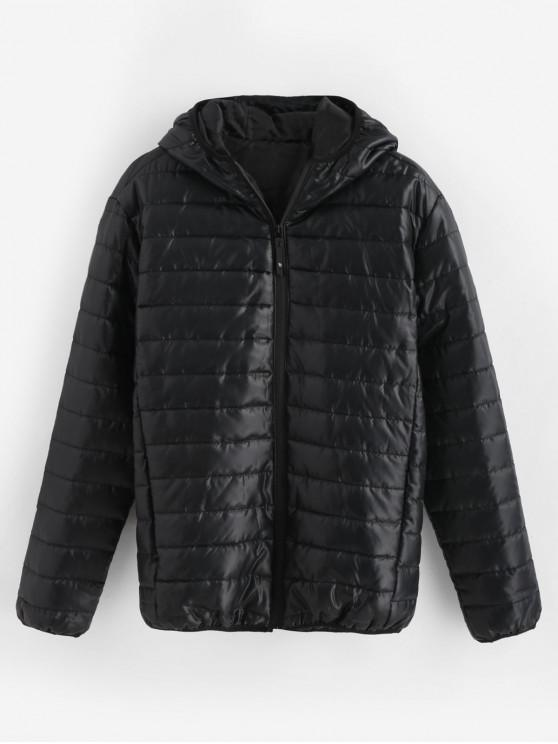 c51fd6204 Solid Quilted Hooded Jacket BLACK