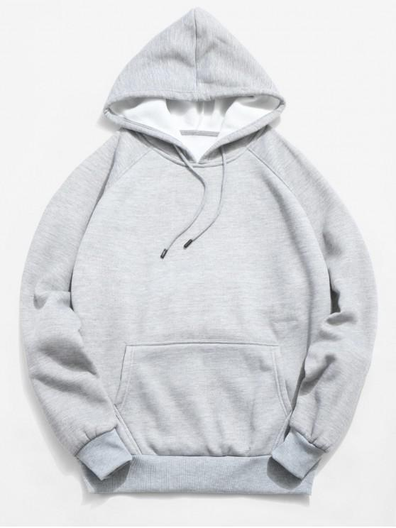 outfit Basic Solid Pouch Pocket Fleece Hoodie - LIGHT GRAY 2XL