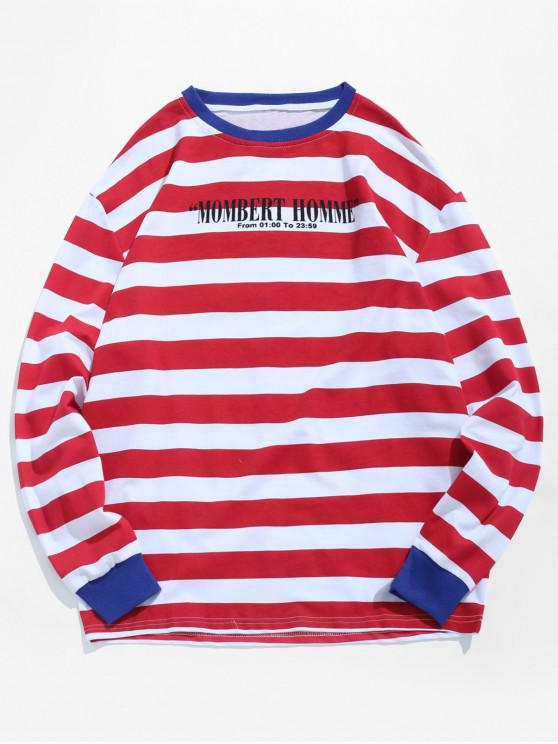 shop Letter Stripe Casual T-shirt - RED L