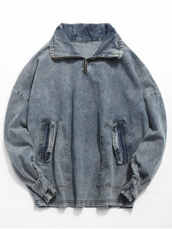 buy Retro Pocket Pullover Denim Jacket - DENIM BLUE L