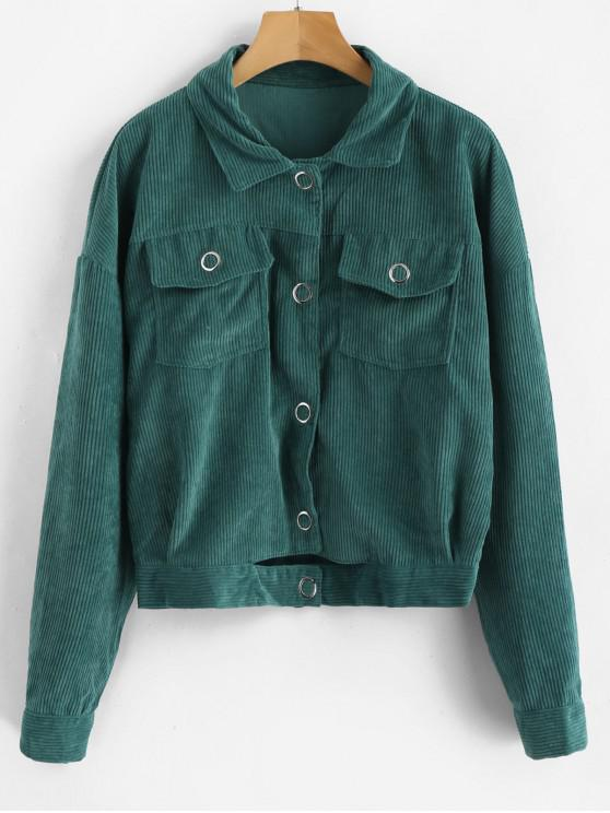 buy Cut Out Single Breasted Corduroy Jacket - GREENISH BLUE S