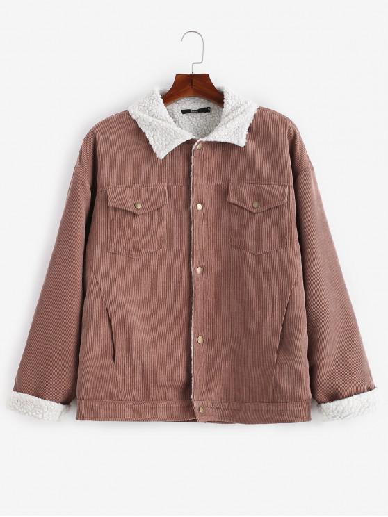 2019 Zaful Retro Faux Fur Lined Corduroy Jacket In Brown M Zaful