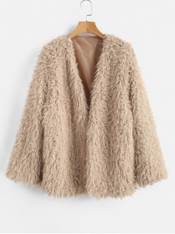 outfit Open Front Fluffy Faux Fur Winter Coat - CAMEL BROWN M