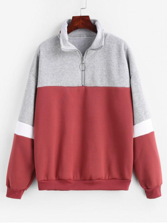Color Block Quarter Zipper Fleece sudadera - Multicolor-A 2XL