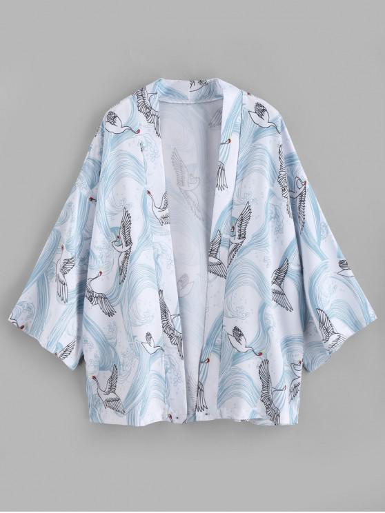 ladies Crane Print Kimono Cardigan - WHITE M