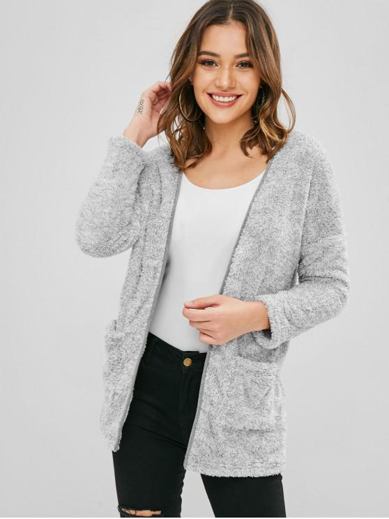latest ZAFUL Pockets Open Front Fluffy Teddy Coat - GRAY CLOUD L