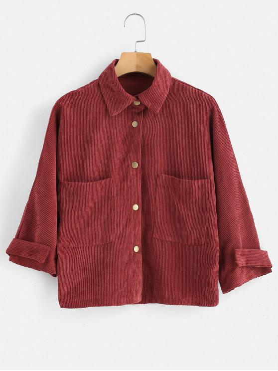 womens Front Pockets Corduroy Jacket - CHERRY RED L