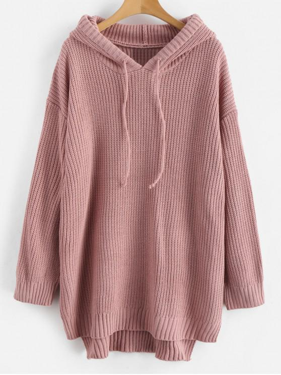 new High Low Hem Hooded Knitted Dress - PINK ONE SIZE