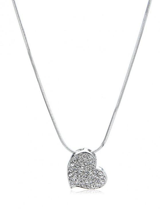 latest Rhinestone Inlaid Heart Shape Pendant Necklace - SILVER